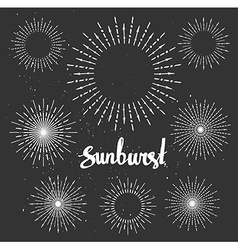 Vintage sunburst collection Chalk elements Hipster vector image vector image