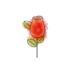 Watercolor drawing of red rosebud with leaves and vector