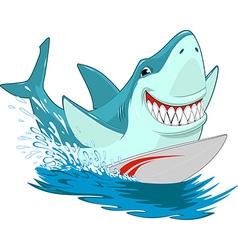 White shark surfer vector image