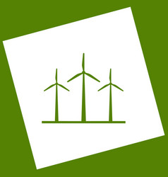 Wind turbines sign white icon obtained as vector