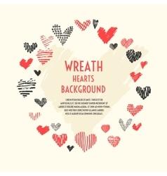 Wreath of hand-drawn hearts vector image vector image