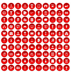 100 business career icons set red vector
