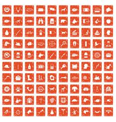 100 dog icons set grunge orange vector