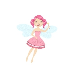 Cute fairy with magic wand girly cartoon character vector