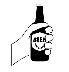 black bottles of beer in the hand icon design vector image