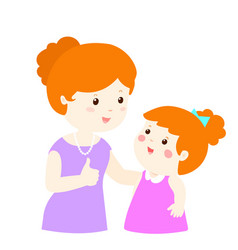 Mother admire daughter character cartoon xa vector