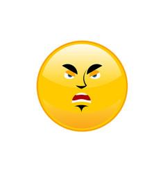 Angry emoji isolated aggressive yellow circle vector