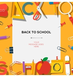 Back to school season sale template with schools vector