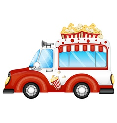 A red vehicle selling popcorns vector