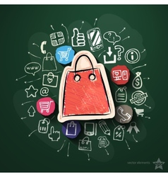 Shopping collage with icons on blackboard vector image