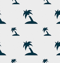 Palm tree travel trip icon sign seamless pattern vector