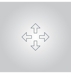 Arrows in four directions icon vector