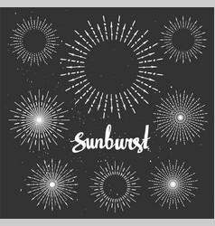 Vintage sunburst collection chalk elements hipster vector