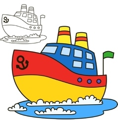 Motor ship coloring book page vector
