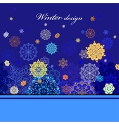 Winter design with golden and blue snowflakes on vector