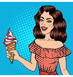 Girl with ice cream pop art banner pin up girl vector