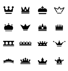 Black crown icon set vector