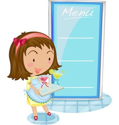 Girl and menu vector image