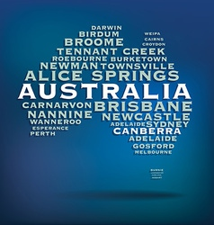 Australia map made with name of cities vector image