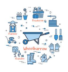 blue round wheelbarrow concept vector image vector image