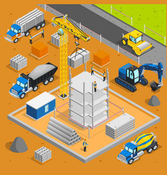 building area isometric composition vector image vector image