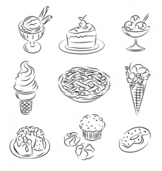 Cakes and ice-cream vector