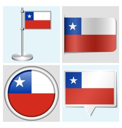 Chile flag - sticker button label flagstaff vector image vector image