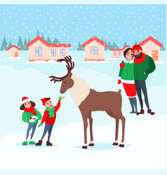 christmas scene with kids family winter holidays vector image vector image