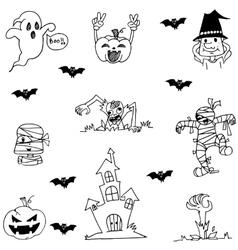 Doodle of halloween character flat vector