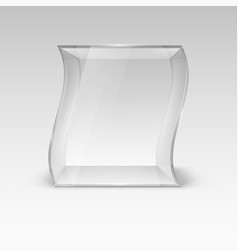 empty glass showcase in wave form for presentation vector image vector image