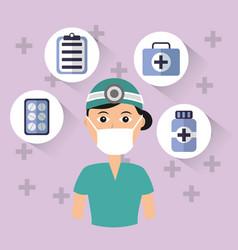Female doctor surgeon mask cap bottle pharmacy vector