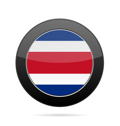 Flag of costa rica shiny black round button vector