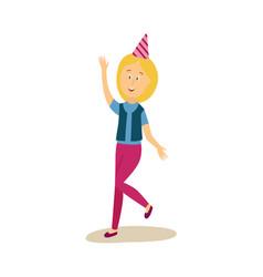 flat woman dancing in party hat vector image vector image