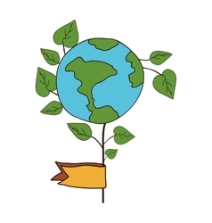 Green plant and earth planet vector