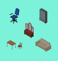 isometric design set of office couch drawer and vector image vector image