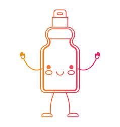 kawaii cartoon detergent bottle in degraded yellow vector image