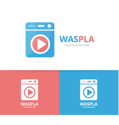 laundry and button play logo combination vector image vector image