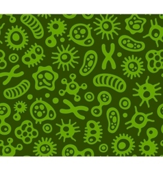 Microbes virus and bacteria green seamless vector