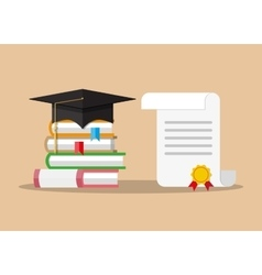 paper diploma with stamp books and graduation cap vector image vector image