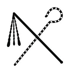 Rod and whip of pharaoh icon simple style vector