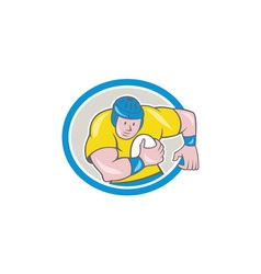 Rugby player running charging circle cartoon vector