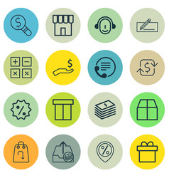 Set of 16 commerce icons includes calculation vector