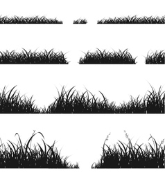 Set of black grass silhouette vector
