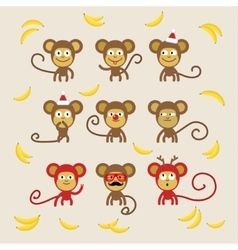Set of cartoon monkeys vector image vector image