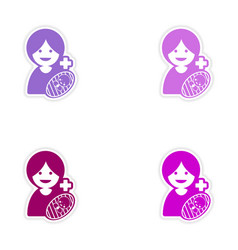 Set of stickers mother and daughter on white vector