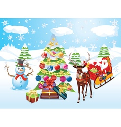 Snowman with christmas tree2 vector