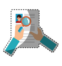 Sticker search with loupe in woman file info with vector