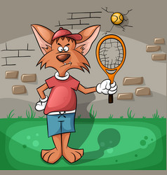 The wolf very hard playing tennis vector