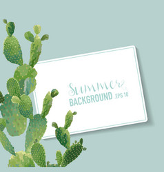 Tropical cactus summer background vector