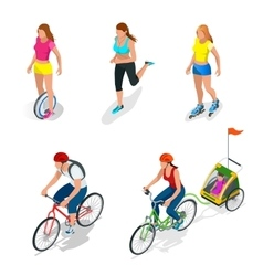 Isometric bicycle family cyclists roller skating vector